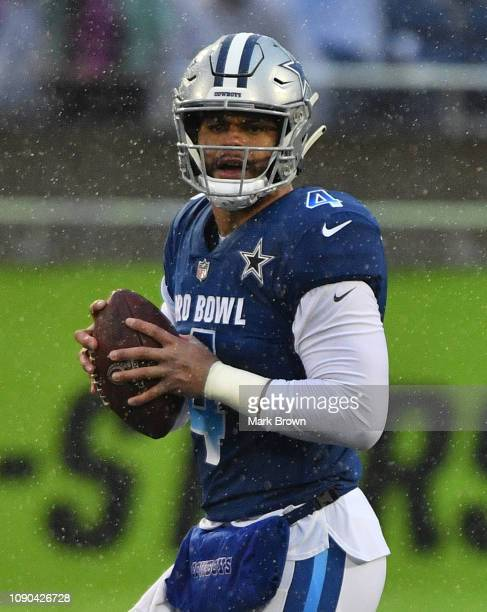 Dak Prescott of the Dallas Cowboys attempts to pass in the fourth quarter during the 2019 NFL Pro Bowl at Camping World Stadium on January 27 2019 in...
