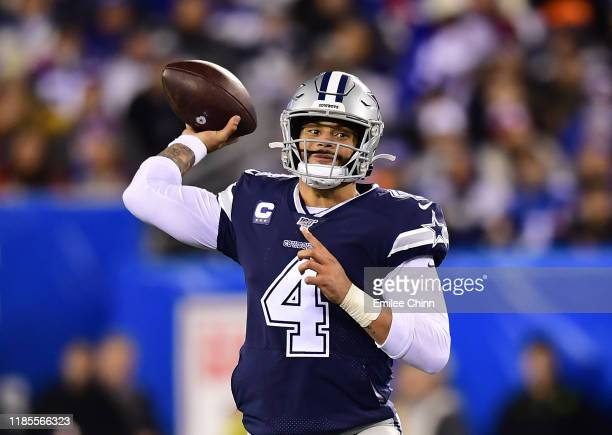 Dak Prescott of the Dallas Cowboys drops back to pass during the second half of their game against the New York Giants at MetLife Stadium on November...