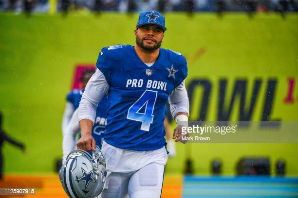 Dak Prescott of the Dallas Cowboys gets introduced before the 2019 NFL Pro Bowl at Camping World Stadium on January 27 2019 in Orlando Florida