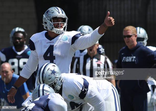 Dak Prescott of the Dallas Cowboys gives direction during morning practice on July 27 2017 in Oxnard California