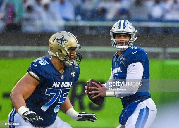 Dak Prescott of the Dallas Cowboys in action during the 2019 NFL Pro Bowl at Camping World Stadium on January 27 2019 in Orlando Florida