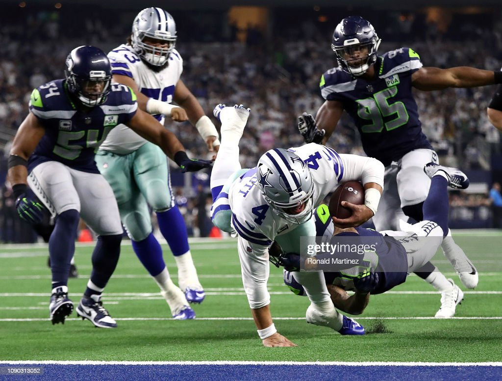 bafbbb72c06 Dak Prescott of the Dallas Cowboys is stopped short of the goal line ...