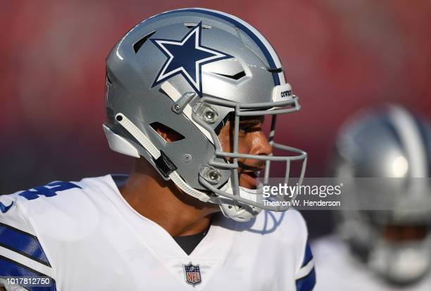 Dak Prescott of the Dallas Cowboys looks on during warm ups prior to the start of an NFL preseason game against the San Francisco 49ers at Levi's...