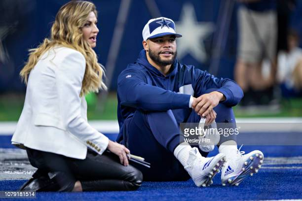 Dak Prescott of the Dallas Cowboys talks with Erin Andrews before a game against the Washington Redskins at ATT Stadium on November 22 2018 in...