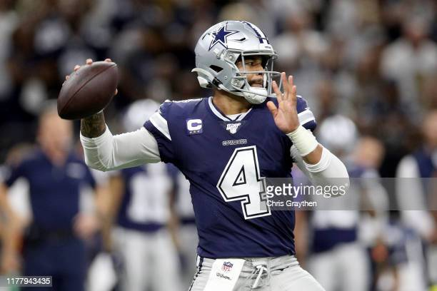 Dak Prescott of the Dallas Cowboys throws a pass against the New Orleans Saints during the first quarter in the game at Mercedes Benz Superdome on...