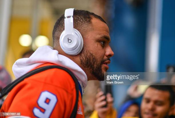 Dak Prescott of the Dallas Cowboys walks the red carpet before the 2019 NFL Pro Bowl at Camping World Stadium on January 27 2019 in Orlando Florida