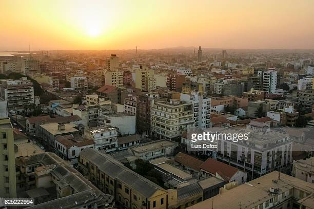 Dakar city center overview at sunset