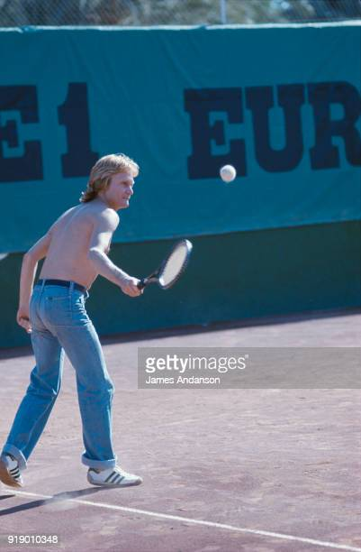 Dakar French singer Claude François playing tennis 10th October 1977