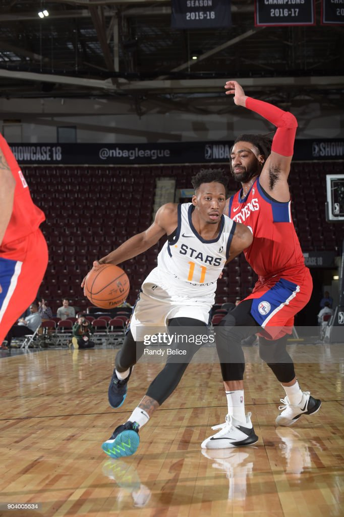 Dakarai Allen #11 of the Salt Lake City Stars handles the ball during the game against the Delaware 87ers at the NBA G League Showcase Game 12 on January 11, 2018 at the Hershey Centre in Mississauga, Ontario Canada.
