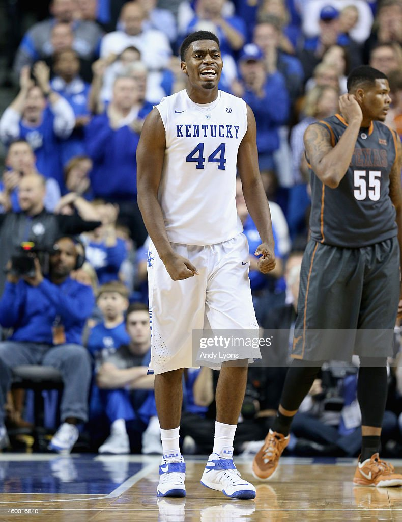 Dakari Johnson #44 of the Kentucky Wildcats celebrates during the game against the Texas Longhorns at Rupp Arena on December 5, 2014 in Lexington, Kentucky.