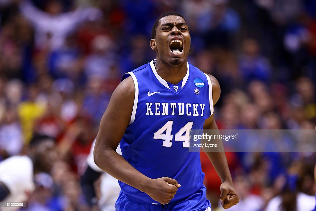 Dakari Johnson #44 of the Kentucky Wildcats reacts after a play against the Louisville Cardinals during the regional semifinal of the 2014 NCAA Men's Basketball Tournament at Lucas Oil Stadium on March 28, 2014 in Indianapolis, Indiana.