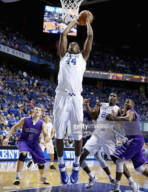 Dakari Johnson of the Kentucky Wildcats shoots the ball during the game against the Grand Canyon Antelopes at Rupp Arena on November 14 2014 in...