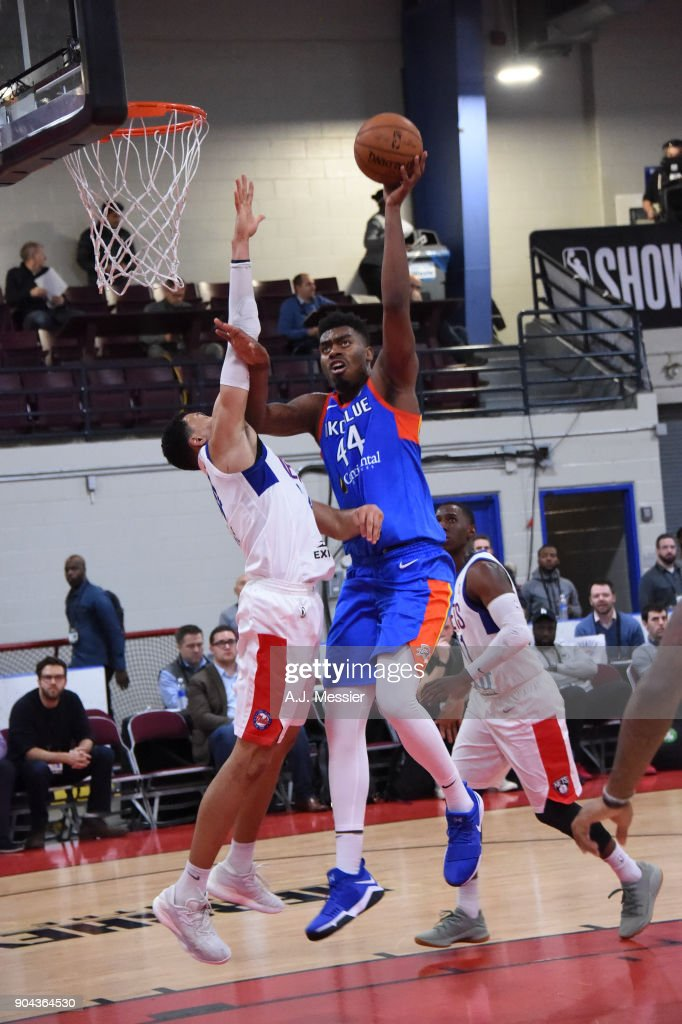Dakari Johnson #44 of the Oklahoma City Blue shoots the ball against the Long Island Nets at NBA G League Showcase Game 18 on January 12, 2018 at the Hershey Centre in Mississauga, Ontario Canada.