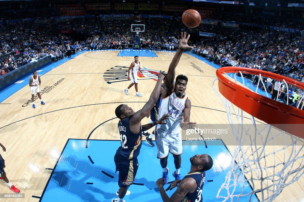 Dakari Johnson #44 of the Oklahoma City Thunder shoots the ball during the game against the New Orleans Pelicans during a preseason game on October 6, 2017 at Chesapeake Energy Arena in Oklahoma City, Oklahoma.