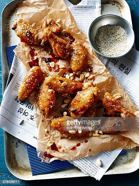 dakgangjeong, a korean fried chicken dish - korean culture stock pictures, royalty-free photos & images