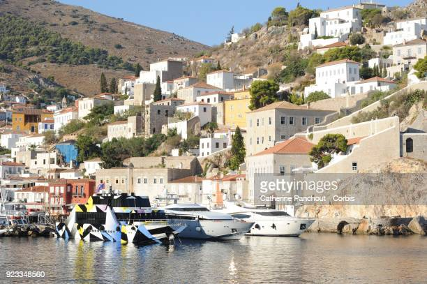 Dakis Joannou's yacht 'Guilty' designed by Jeff Koons and Ivana Porfiri, in the port of Hydra, on August 21, 2016 in Hydra, Greece.