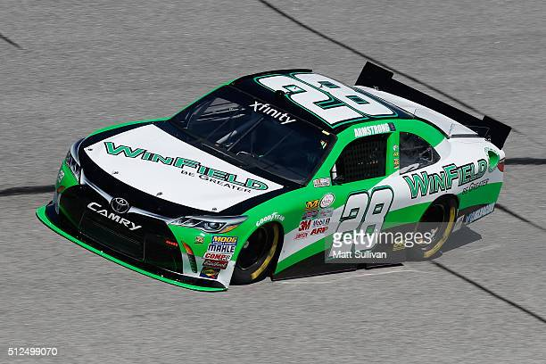 Dakoda Armstrong driver of the Winfield Be Greater Toyota practices for the NASCAR XFINITY Series Heads Up Georgia 250 at Atlanta Motor Speedway on...