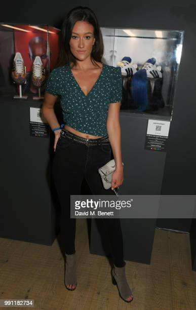 Dakota attends adidas 'Prouder' A Fat Tony Project in aid of the Albert Kennedy Trust supporting LGBT youth at Heni Gallery Soho on July 3 2018 in...