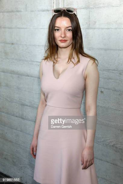 Dakota Blue Richards attends the Roland Mouret show during London Fashion Week February 2018 at The National Theatre on February 18 2018 in London...