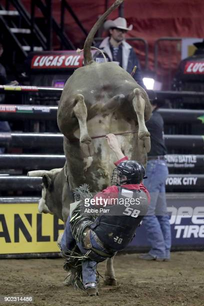 Dakota Buttar is bucked off Lab Rat during day 3 of the Monster Energy Buck Off at Madison Square Garden on January 7 2018 in New York City