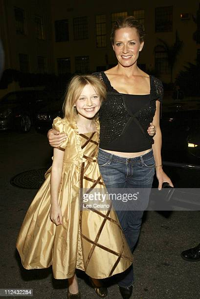 Dakota Fanning and Elisabeth Shue during Hide and Seek Los Angeles Premiere Red Carpet at Zanuck Theater in Los Angeles California United States