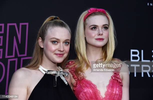 Dakota Fanning and Elle Fanning arrive at a special screening of Bleecker Street Media's Teen Spirit at ArcLight Hollywood on April 02 2019 in...