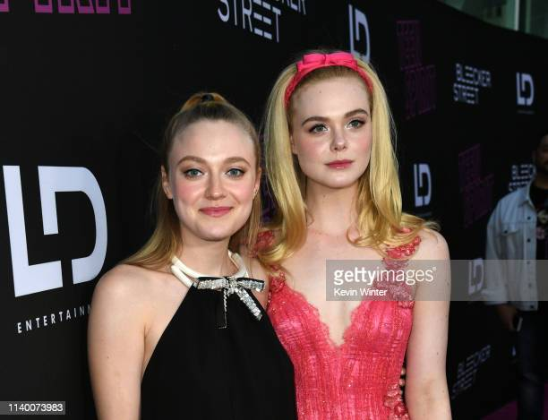 Dakota Fanning and Elle Fanning arrive at a special screening of Bleeker Street's Teen Spirit at the ArcLight Hollywood on April 02 2019 in Hollywood...
