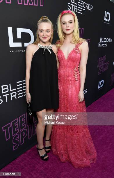 Dakota Fanning and Elle Fanning attend a special screening of Bleecker Street's 'Teen Spirit' ArcLight Hollywood on April 02 2019 in Hollywood...