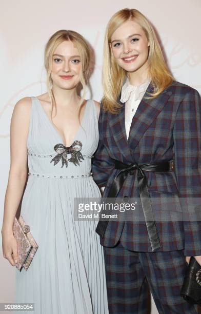 Dakota Fanning and Elle Fanning attend the Miu Miu Women's Tales Screening at The Curzon Mayfair on February 19 2018 in London England