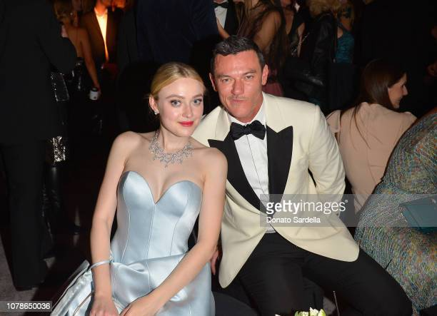 Dakota FanningBEVERLY HILLS CA JANUARY 06 Dakota Fanning and Luke Evans attend the 2019 InStyle and Warner Bros 76th Annual Golden Globe Awards...
