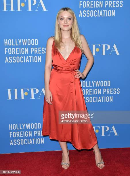 Dakota Fanning arrives at the Hollywood Foreign Press Association's Grants Banquet at The Beverly Hilton Hotel on August 9 2018 in Beverly Hills...