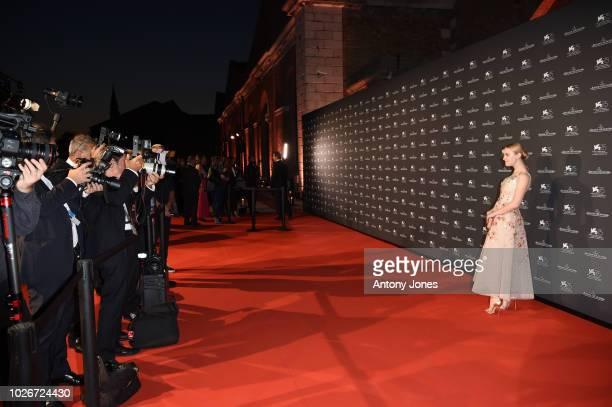 Dakota Fanning arrives for the JaegerLeCoultre Gala Dinner during the 75th Venice International Film Festival at Arsenale on September 4 2018 in...