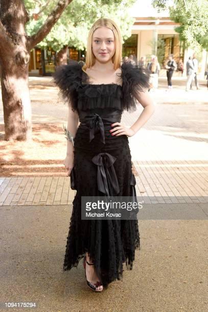 Dakota Fanning attends JNSQ Rose Cru debuts alongside Rodarte FW/19 Runway Show at Huntington Library on February 5 2019 in Pasadena California