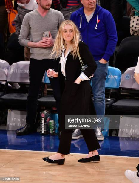Dakota Fanning attends New York Knicks vs Detroit Pistons game at Madison Square Garden on March 31 2018 in New York City