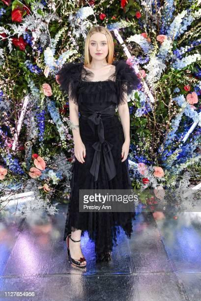 Dakota Fanning attends Rodarte FW19 Fashion Show at The Huntington Library and Gardens on February 05 2019 in San Marino California