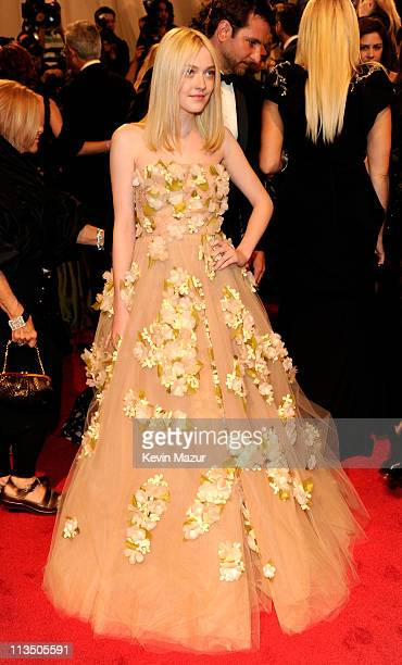 "Dakota Fanning attends the ""Alexander McQueen: Savage Beauty"" Costume Institute Gala at The Metropolitan Museum of Art on May 2, 2011 in New York..."