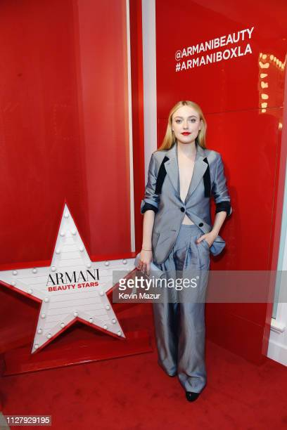 Dakota Fanning attends The Armani Box Los Angeles PopUp Store Grand Opening at The Armani Box on February 06 2019 in West Hollywood California