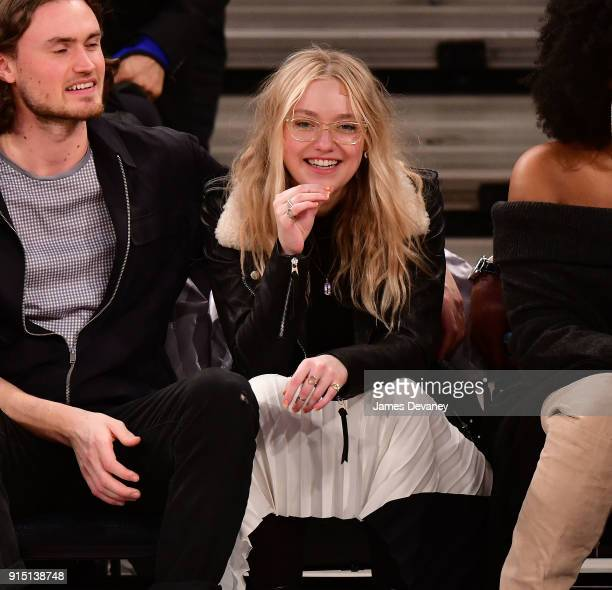 Dakota Fanning attends the New York Knicks vs Milwaukee Bucks game at Madison Square Garden on February 6 2018 in New York City