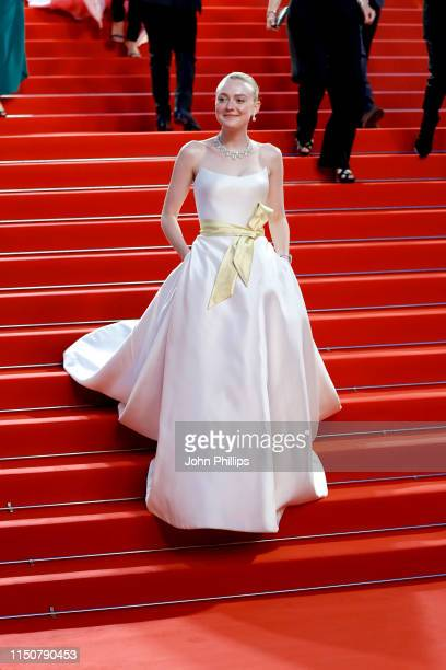 Dakota Fanning departs the screening of Once Upon A Time In Hollywood during the 72nd annual Cannes Film Festival on May 21 2019 in Cannes France