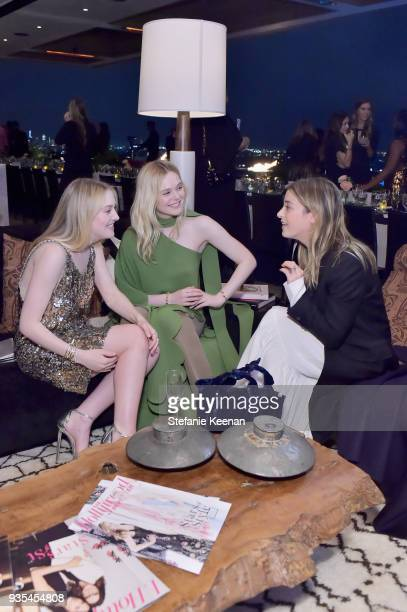 Dakota Fanning Elle Fanning and Jamie Mizrahi attend The Hollywood Reporter and Jimmy Choo Power Stylists Dinner on March 20 2018 in Los Angeles...