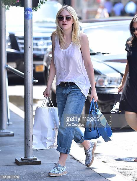 Dakota Fanning is seen in Soho on July 9 2014 in New York City