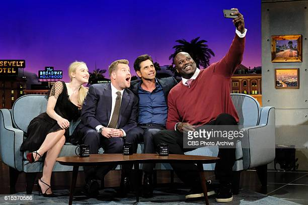 Dakota Fanning John Stamos and Shaquille O'Neal chat with James Corden during 'The Late Late Show with James Corden' Monday October 17 2016 On The...