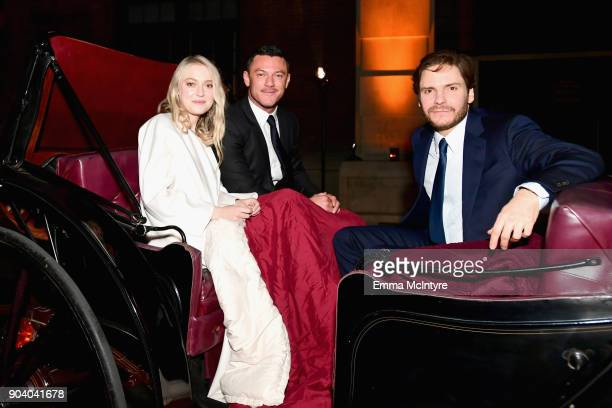 Dakota Fanning Luke Evans and Daniel Bruhl attend The Alienist LA Premiere Event at Paramount Studios on January 11 2018 in Hollywood California...
