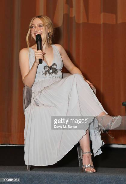 Dakota Fanning speaks on stage at the Miu Miu Women's Tales Screening at The Curzon Mayfair on February 19 2018 in London England