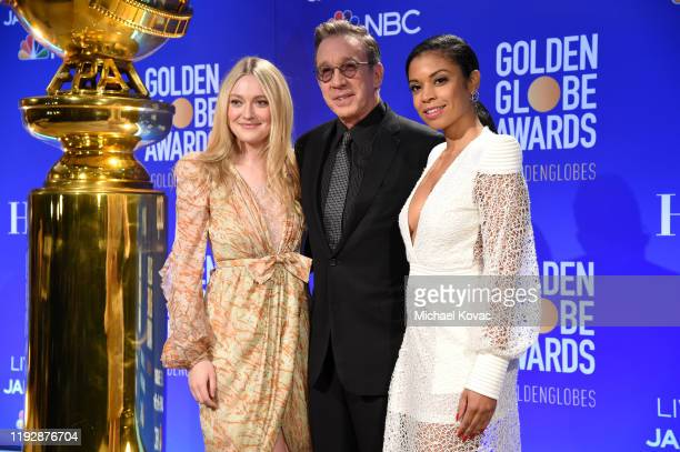 Dakota Fanning Tim Allen and Susan Kelechi Watson pose onstage as Moët Chandon Toasts The 77th Annual Golden Globe Awards Nominations on December 09...