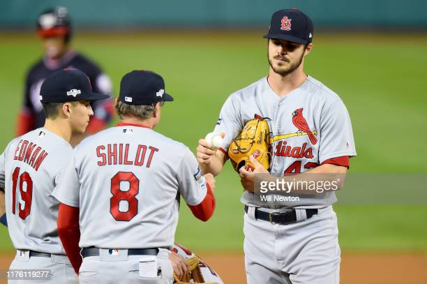 Dakota Hudson of the St Louis Cardinals is pulled by manager Mike Shildt during the first inning of Game Four of the National League Championship...