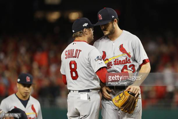 Dakota Hudson of the St Louis Cardinals is taken out of the game by manager Mike Shildt of the St Louis Cardinals in the first inning against the...