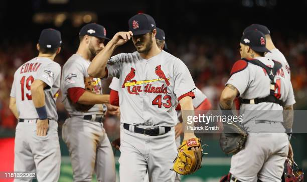 Dakota Hudson of the St Louis Cardinals walks off of the field after being removed from the game in the first inning against the Washington Nationals...