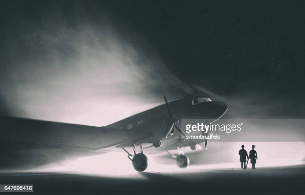 dc-3 dakota in the fog, model photography - film noir style stock pictures, royalty-free photos & images