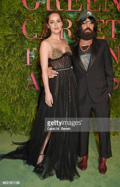 Dakota Johnson and Alessandro Michele Gucci Creative Director attend the Green Carpet Fashion Awards Italia wearing Gucci for the Green Carpet...